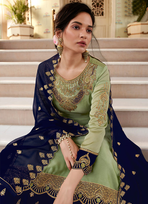 Indian Suits - Green Designer Sharara Suit
