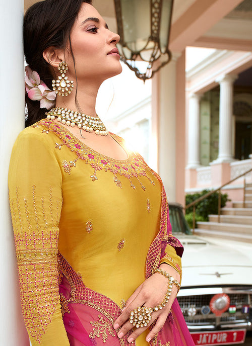 Indian Clothes - Yellow Sharara Suit In usa uk canada