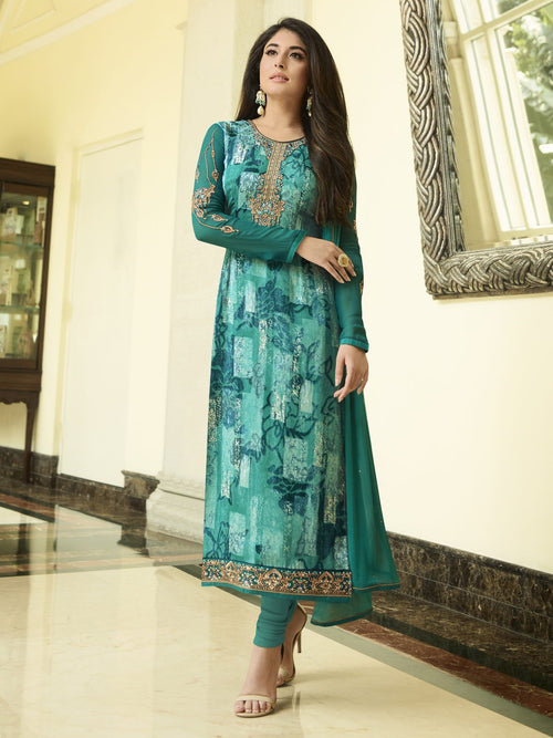 Turquoise Green Hues Brasso Designer Pant Suit