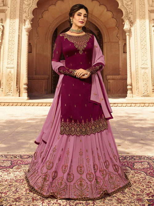Plum And Pink Designer Lehenga/Pant Suit