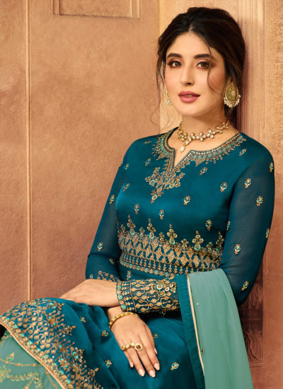Turquoise And Green Designer Lehenga/Palazzo Suit