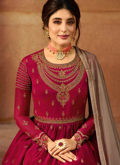 Crimson Red And Brown Designer Palazzo Suit