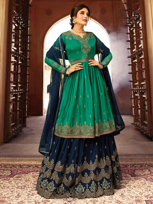Green And Navy Blue Designer Lehenga/Palazzo Suit