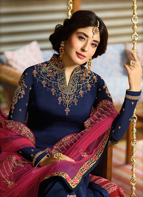 Blue And Pink Multi Embroidered Pakistani Pant Suit