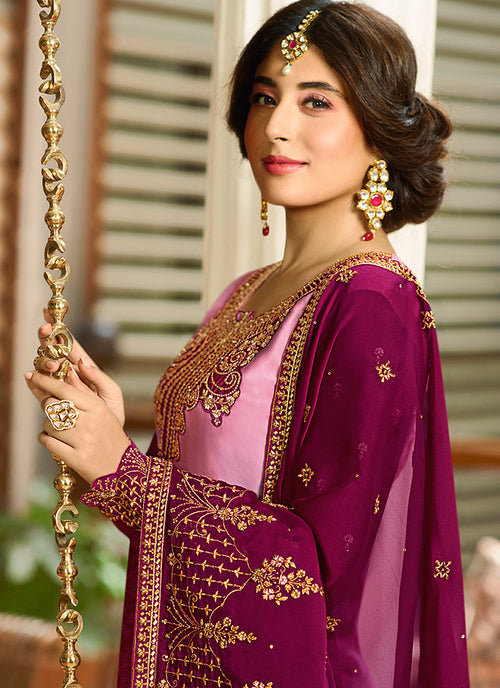 Pink Shaded Multi Embroidered Pakistani Pant Suit