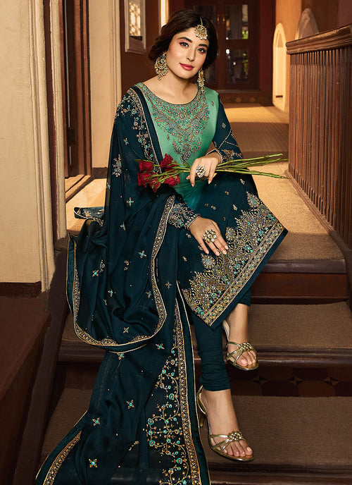 Turquoise Shaded Multi Embroidered Pakistani Pant Suit