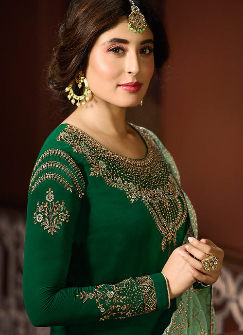 Green Dual Tone Shaded Multi Embroidered Pakistani Pant Suit