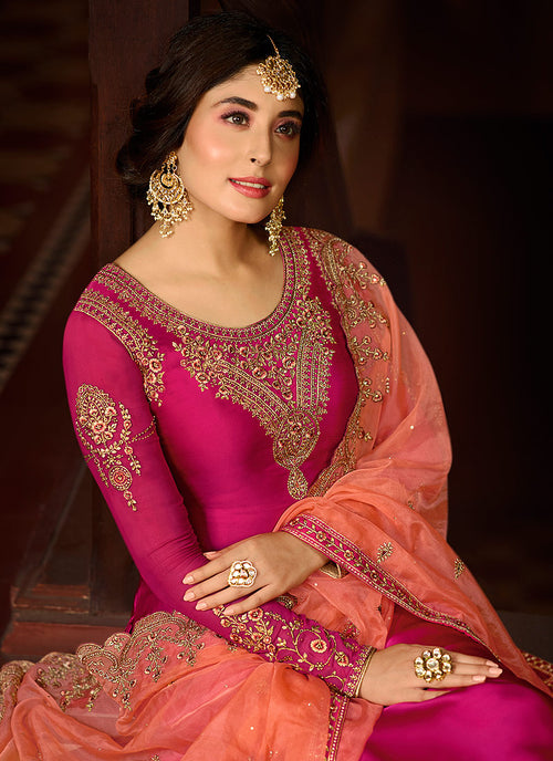 Pink And Orange Multi Embroidered Pakistani Pant Suit