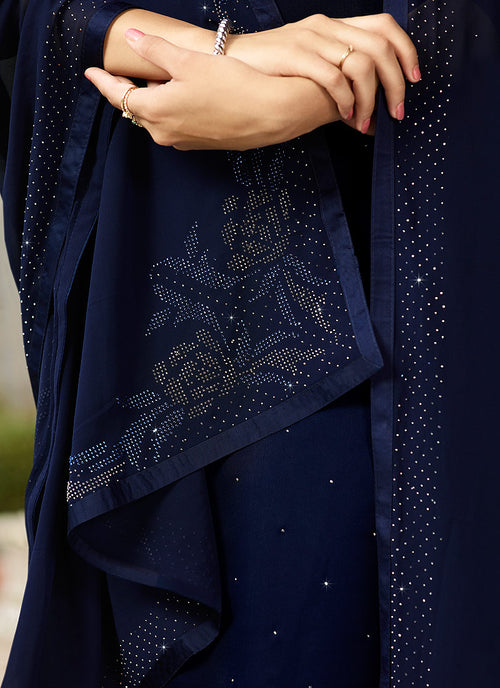 Navy Blue Crystal Embroidered Churidar Suit