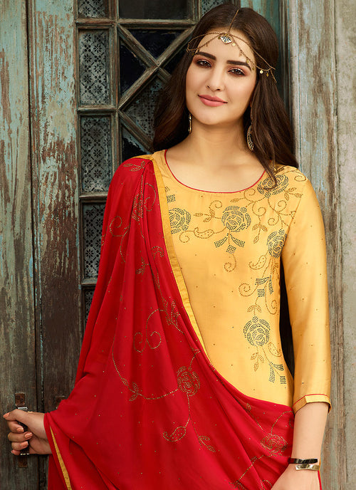 Yellow And Red Crystal Embroidered Churidar Suit