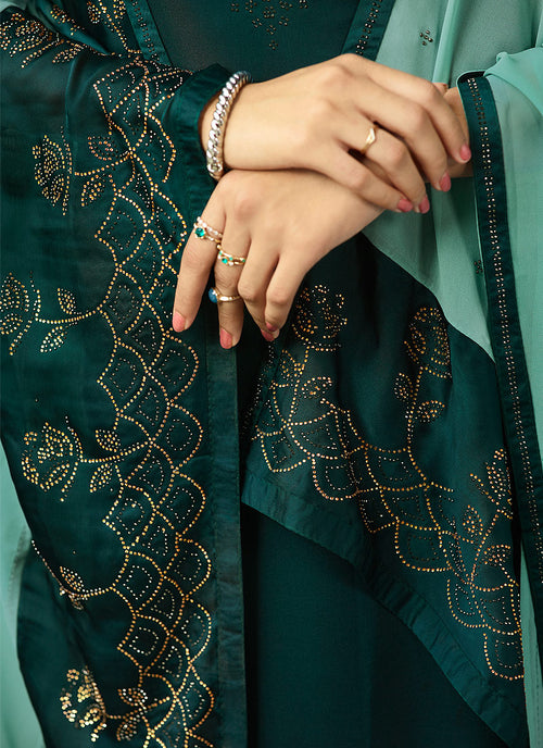 Deep Green Crystal Embroidered Churidar Suit