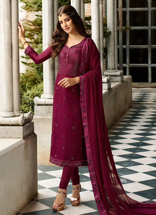 Deep Magenta Crystal Embroidered Churidar Suit