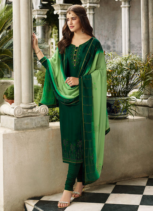 Green Two Tone Crystal Embroidered Churidar Suit