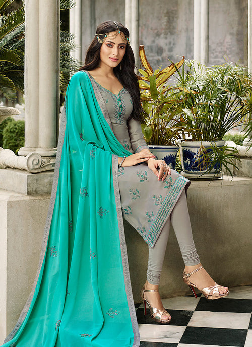 Grey And Blue Crystal Embroidered Churidar Suit