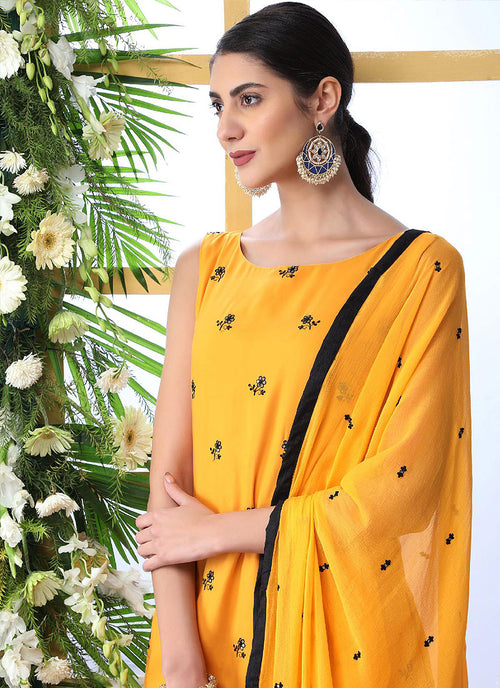 Yellow And Black Embroidered Palazzo Style Suit, Salwar kameez