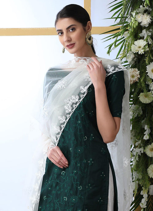Green And White Embroidered Palazzo Style Suit, Salwar Kameez