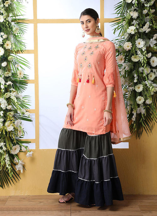 Peach And Grey Embroidered Palazzo Style Suit, Salwar Kameez