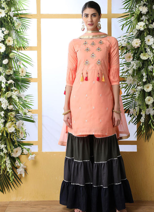 Indian Clothes - Peach And Grey Embroidered Palazzo Style Suit