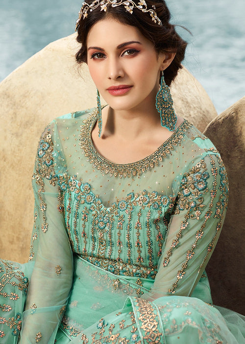 Indian Clothes - Aqua Blue Embroidered Net Gharara Suit