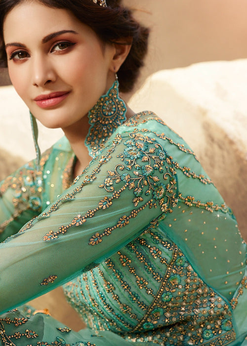 Indian Suits - Aqua Blue Embroidered Net Gharara Suit
