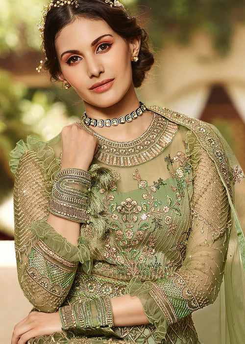 Indian Clothes - Light Green Embroidered Anarkali Suit