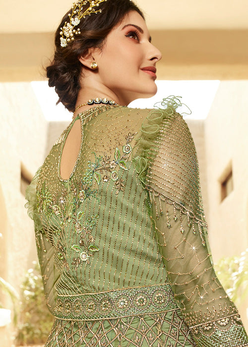 Indian Suits - Light Green Anarkali Suit In usa uk canada