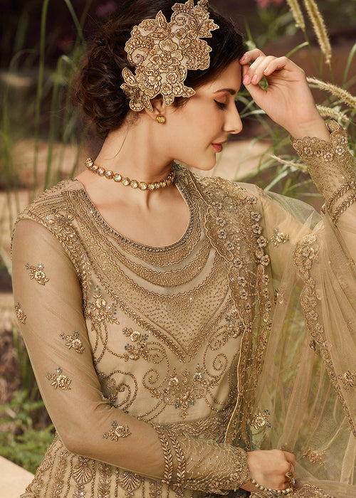 Indian Clothes - Beige Golden Embroidered Anarkali Suit