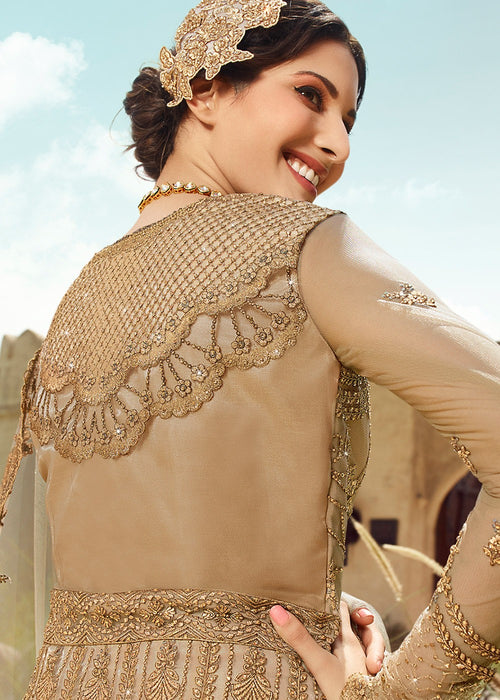 Indian Suits - Beige Golden Anarkali Suit In usa uk canada