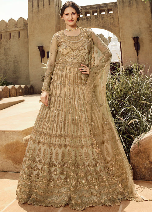 Beige Golden Anarkali Suit