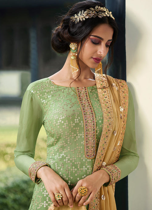 Indian Clothes - Green And Yellow Embroidered Palazzo Suit