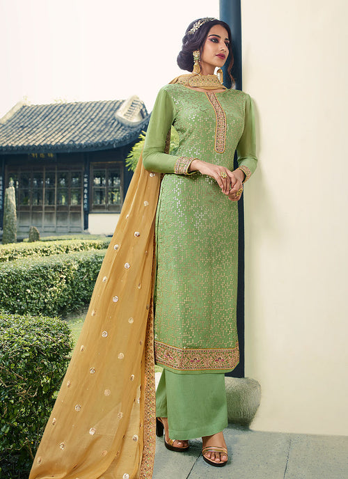 Indian Suits - Green And Yellow Palazzo Suit In usa uk canada