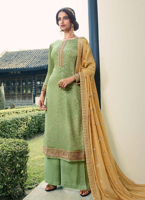 Green And Yellow Palazzo Suit