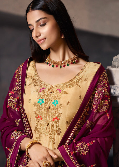 Indian Clothes - Cream And Maroon Designer Sharara Suit