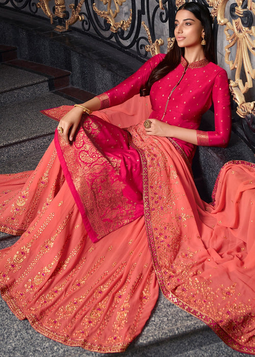 Indian Clothes - Pink And Peach Sharara Suit
