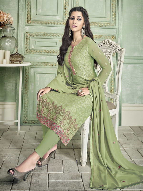 Light Green Ethnic Designer Pakistani Pant Suit