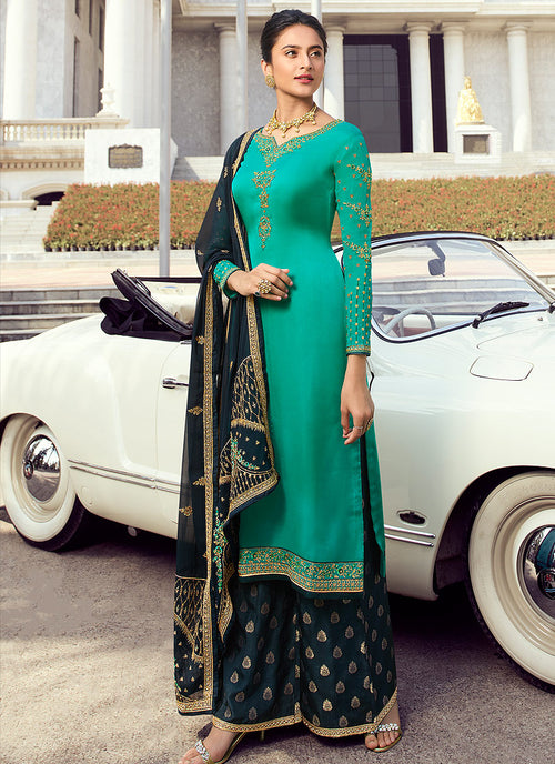 Indian Clothes - Turquoise And Blue Embroidered Palazzo Suit