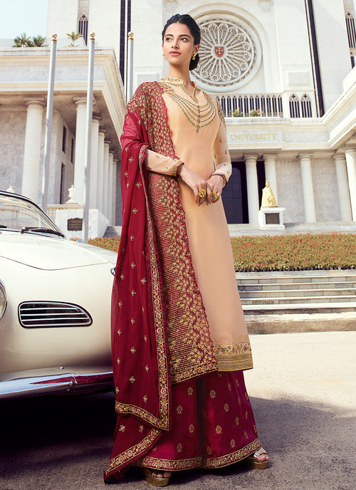 Indian Clothes - Red And Golden Embroidered Palazzo Suit