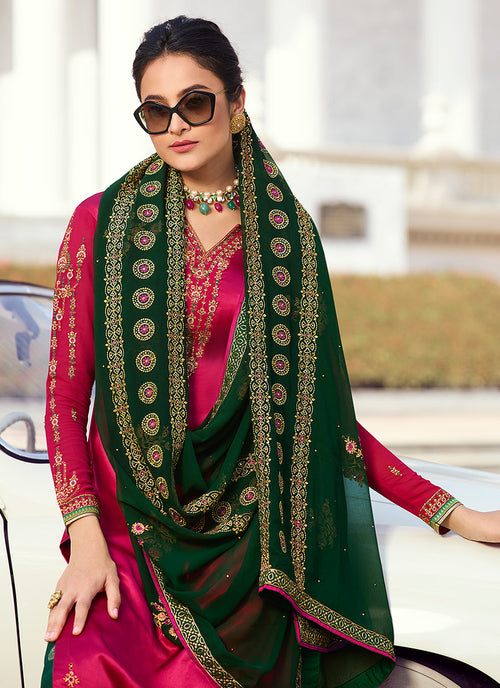 Pink And Green Embroidered Palazzo Suit, Salwar Kameez