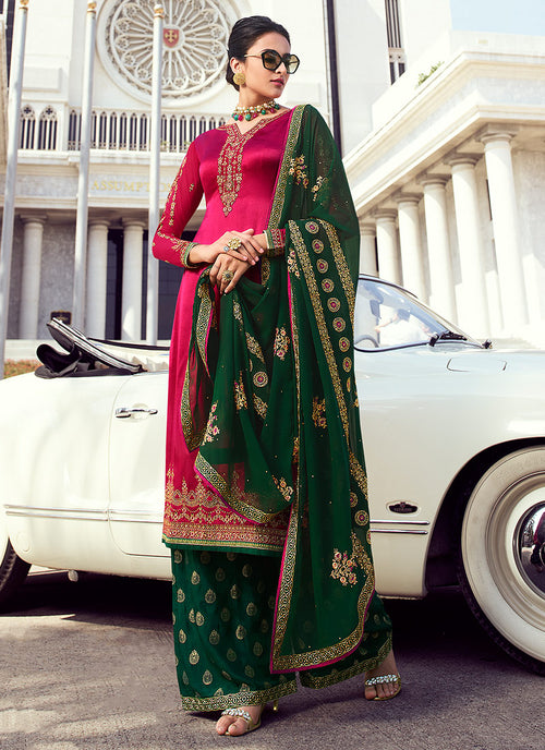 Indian Clothes - Pink And Green Embroidered Palazzo Suit