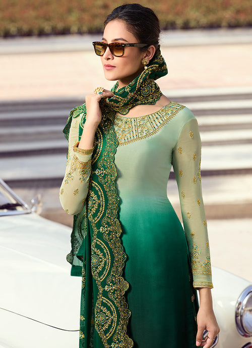 Green Shaded Embroidered Lehenga Style Suit, Salwar Kameez