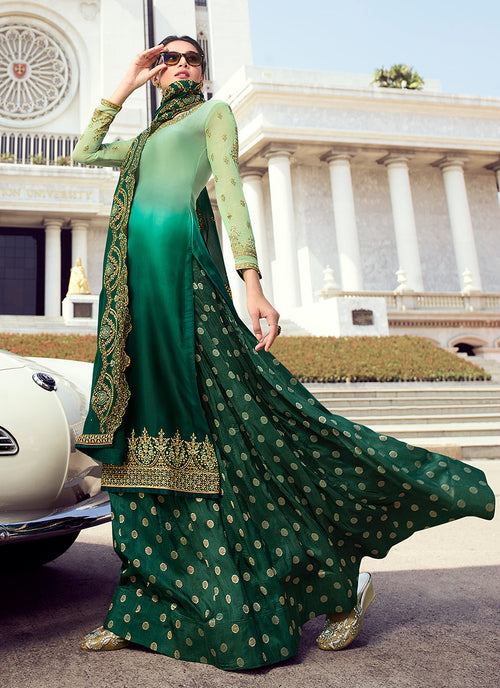 Green Shaded Embroidered Lehenga Style Suit