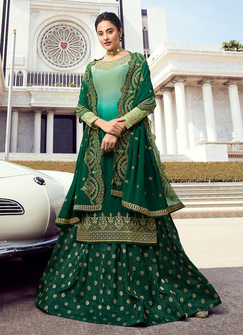 Indian Clothes - Green Shaded Embroidered Lehenga Style Suit