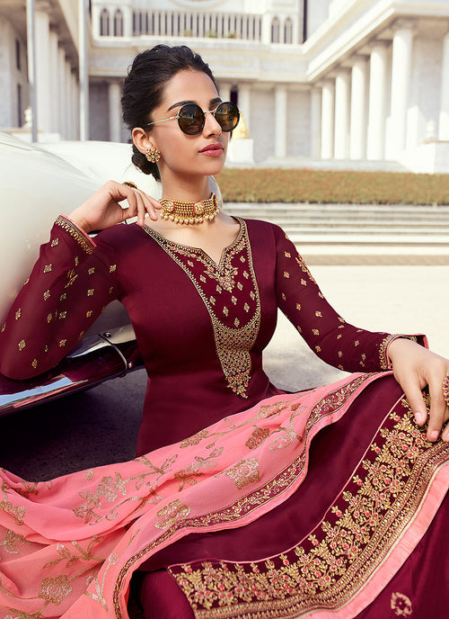 Maroon And Pink Embroidered Palazzo Suit, Salwar Kameez