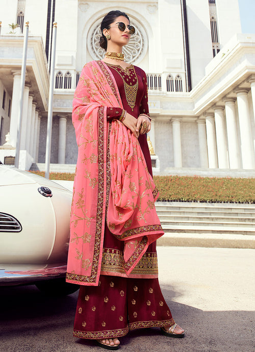 Indian Clothes - Maroon And Pink Embroidered Palazzo Suit
