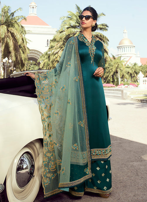 Indian Clothes - Green Embroidered Palazzo Suit