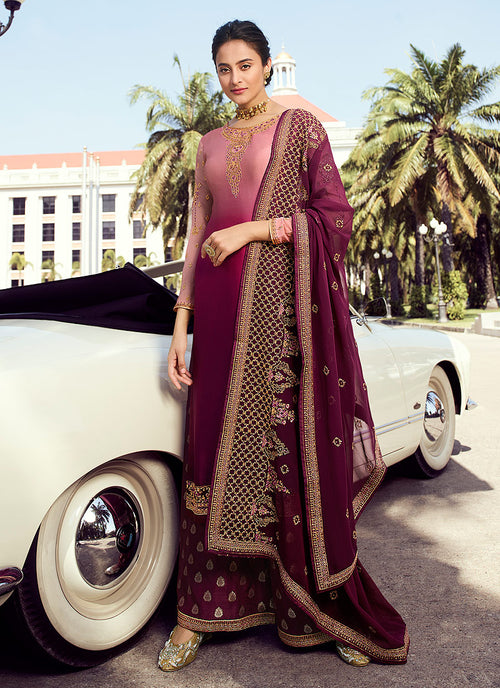 Indian Clothes - Magenta Shaded Embroidered Palazzo Suit