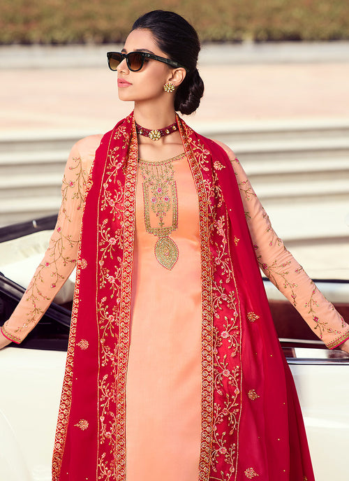 Peach And Red Embroidered Lehenga Style Suit, Salwar Kameez