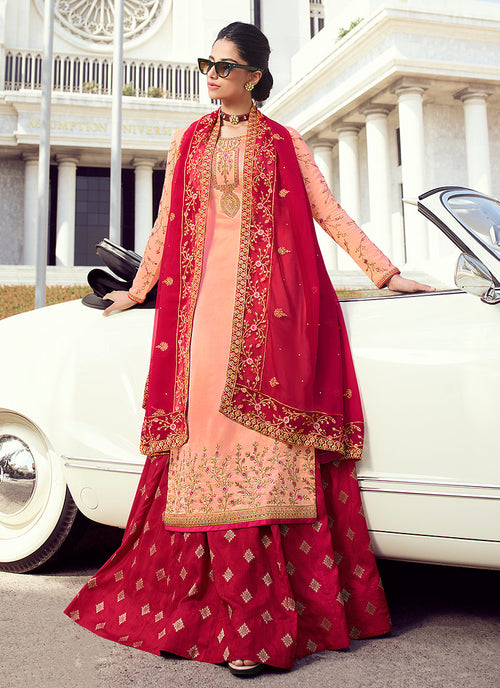 Peach And Red Embroidered Lehenga Style Suit
