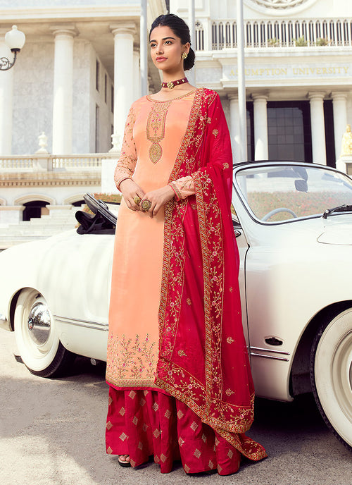 Indian Clothes - Peach And Red Embroidered Lehenga Style Suit
