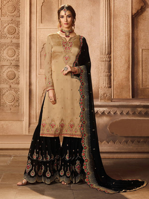 Beige And Black Pakistani Style Gharara Suit